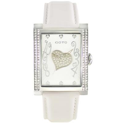 GOTO 心鑽魔力晶鑽腕錶-白色/34mm