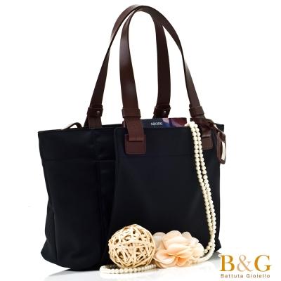 B-G-極簡風口袋多隔層托特包-絲光黑
