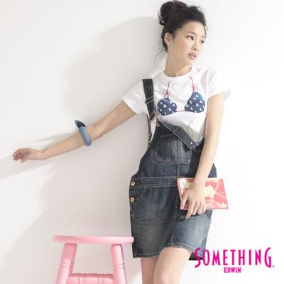 【SOMETHING】簡約吊帶牛仔短裙-女款(原藍磨)