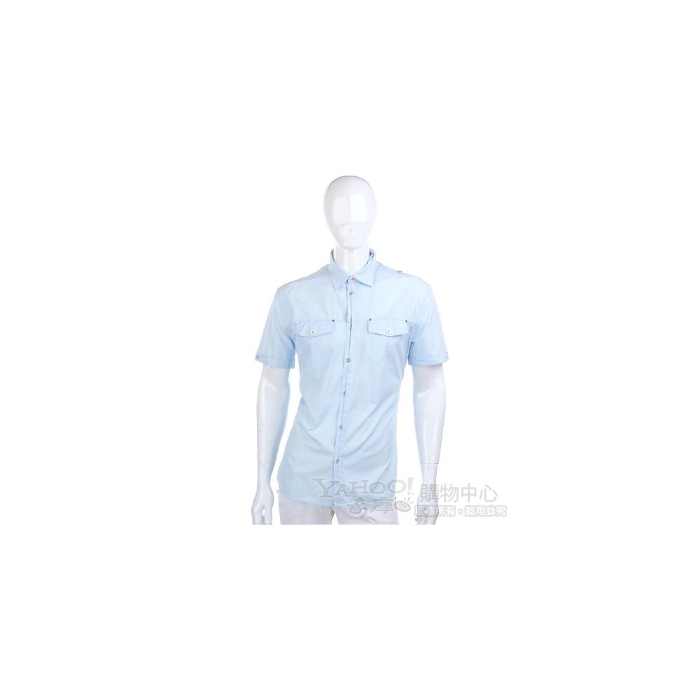 KENZO 水藍色釦子造型短袖襯衫