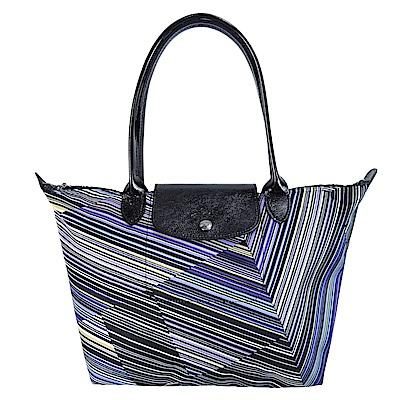 LONGCHAMP Le Pliage OP ART錯視線條長把摺疊水餃包(小/紫水晶)