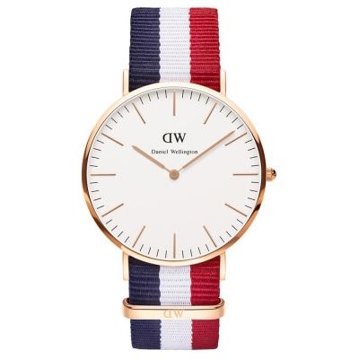 Daniel Wellington Cambridge時尚男錶-玫瑰金框X藍白紅寬帶/40mm
