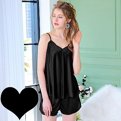 睡衣 彈性珍珠絲質 性感睡襯衣(1701-13)黑色-台灣製造 蕾妮塔塔
