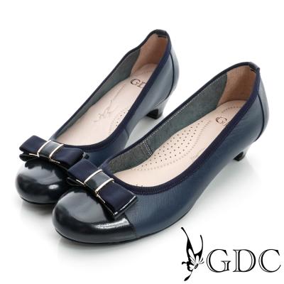 GDC典雅-蝴蝶細格紋拼接真皮低跟鞋-藍色