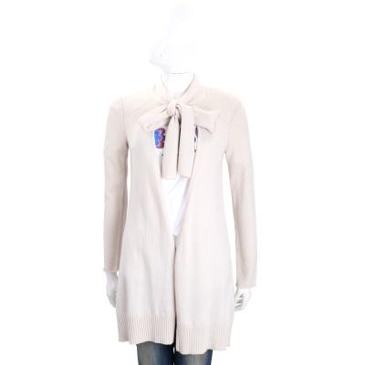 MARELLA 米白色混紡羊毛領結長版外套
