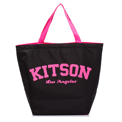 kitson 美式學院風寬口型托特包(BLACK)