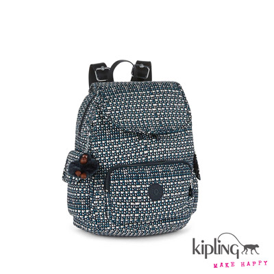 Kipling-後背包-藍綠菱格紋印花