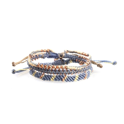 Wakami Star星星經典編織組合手環-藍灰色
