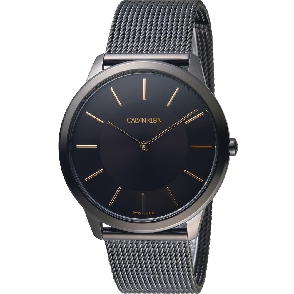 Calvin Klein Minimal 俐落米蘭時尚腕錶-黑x玫瑰金色/40mm