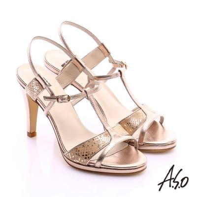 A.S.O 璀璨注目 金箔真皮T字帶高跟涼鞋 金色