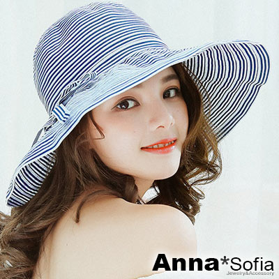 AnnaSofia 海軍條紋層拼綁帶 防曬遮陽寬簷淑女帽(藏藍系)
