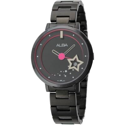 ALBA 可愛星空浪漫淑女腕錶(AG8363X1)-黑/38mm