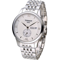 天梭TISSOT Le Locle 力洛克小秒針機械錶-銀/39mm