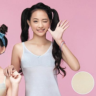 嬪婷 學生內衣 第一階段 M-3L 晶球牛奶細帶長版背心(柔和黃)
