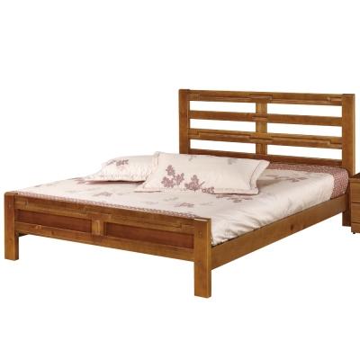 品家居-晨光5尺柚木色雙人床架-不含床墊