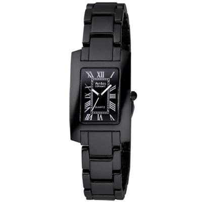Vaness 經典透亮羅馬時刻陶瓷腕錶-黑//22mm