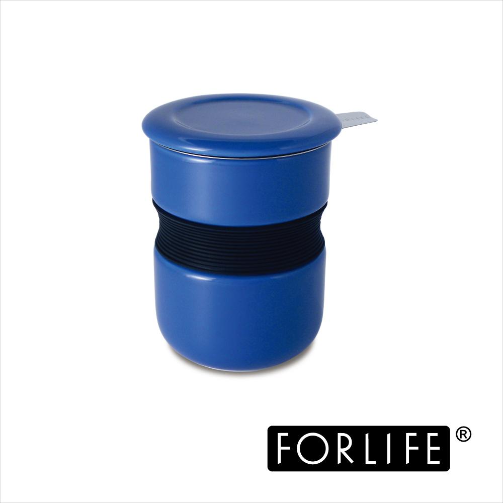 美國FORLIFE 不燙手曲線杯(附蓋/濾網)355ML-藍色