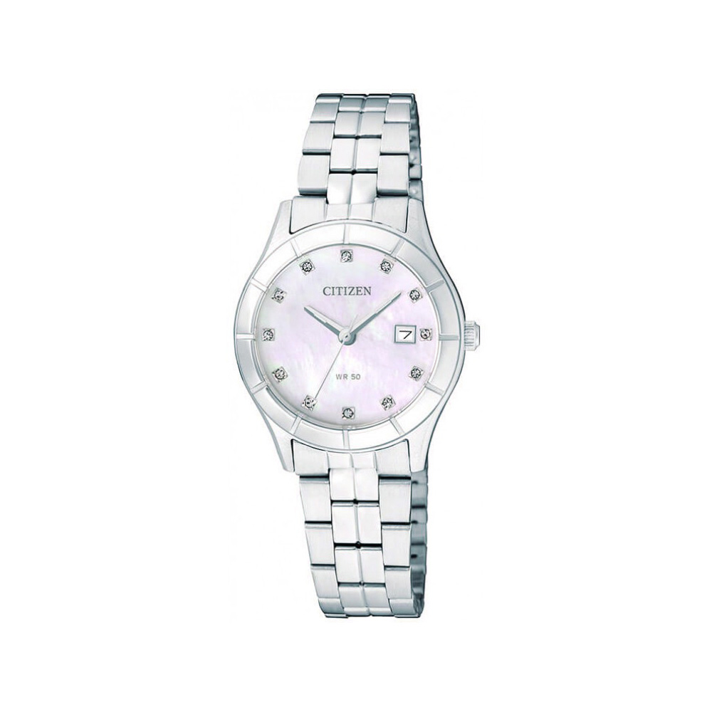 CITIZEN星辰 簡潔經典珍珠母貝女仕腕錶(EU6040-52D)-珍珠母貝/27mm