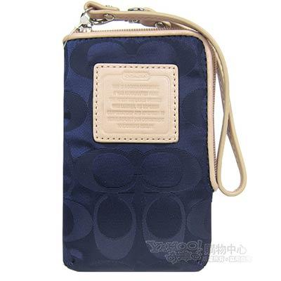 COACH 小C logo 尼龍款皮革飾邊手機袋(藍)