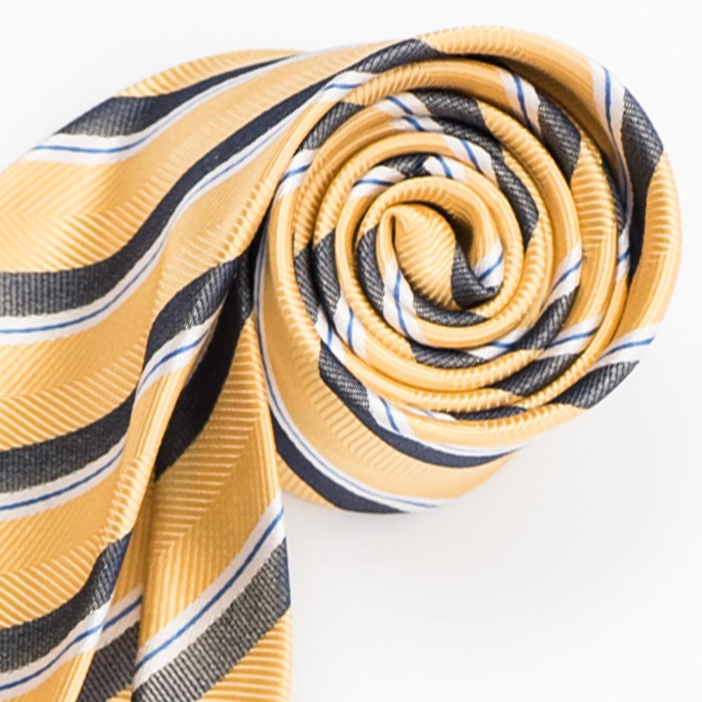 極品西服 紳士經典100%絲斜紋領帶_ 黃藍白條紋(YT5005)