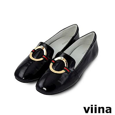 viina-都會系列-金屬圓環水鑽真皮便鞋-經典黑