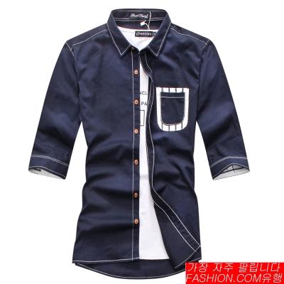FASHION館 韓系反白車線SLIM合身五分袖襯衫 HENRY