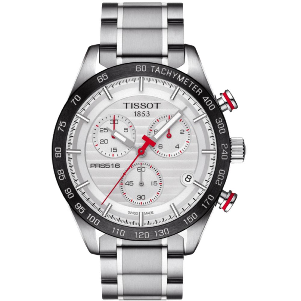 TISSOT PRS516 三眼計時石英腕錶(T1004171103100)-銀/42mm