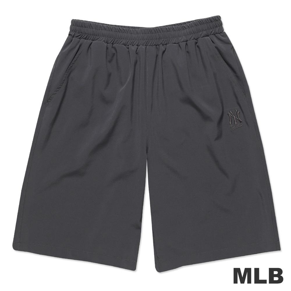 MLB-紐約洋基隊素面休閒繡花短褲-深灰(男)