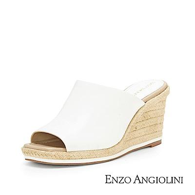 ENZO ANGIOLINI--魚口寬帶楔型涼拖鞋-迷人白
