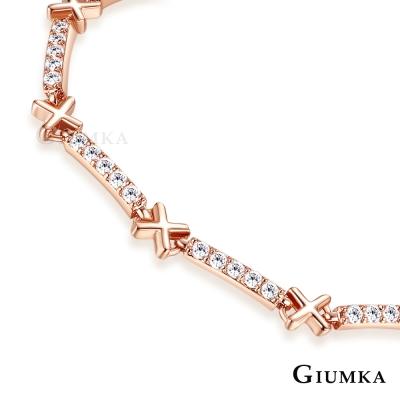 GIUMKA時尚交叉女手鍊滿鑽 精鍍玫瑰金