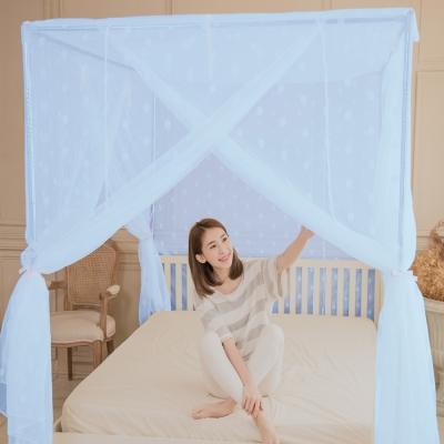 凱蕾絲帝-大空間210*200*200公分加長加高針織蚊帳(開三門)+不鏽鋼支架-粉藍