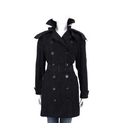 BURBERRY 黑色可拆式連帽塔夫塔綢風衣(附腰帶)