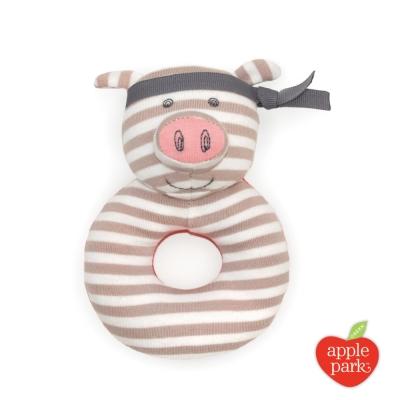 美國 Apple Park 農場好朋友系列 有機棉啃咬手搖鈴 -   功夫紅豬