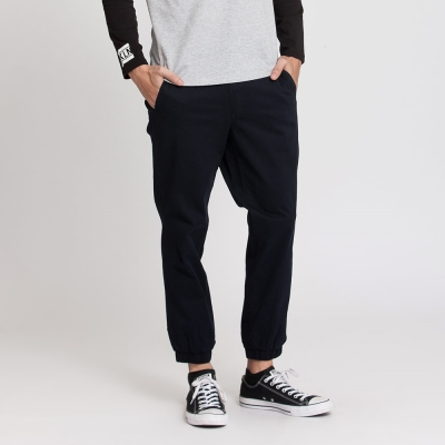 Hang Ten - 男裝 - 基本純色開扣束口褲 - 藍