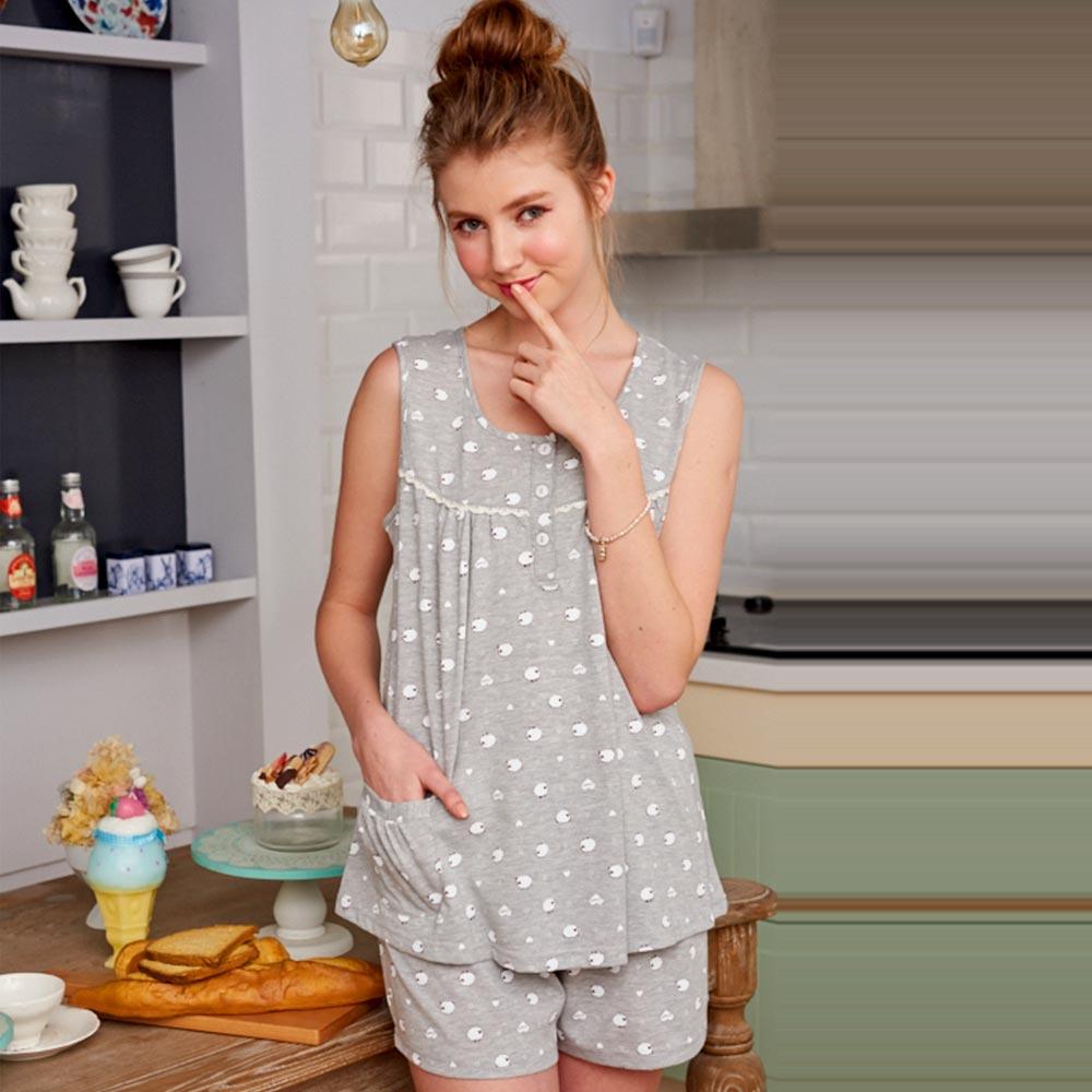 睡衣 精梳棉柔短袖兩件式睡衣(67025)綿羊牧場 灰色-台灣製造 蕾妮塔塔