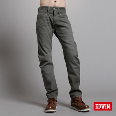 EDWIN-大尺碼-W-F-EF迷彩中直筒保溫褲-男款-橄欖綠