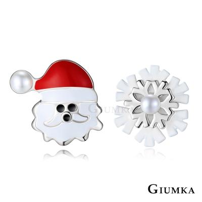 GIUMKA耶誕老人&雪花耳環 精鍍正白K-共4款
