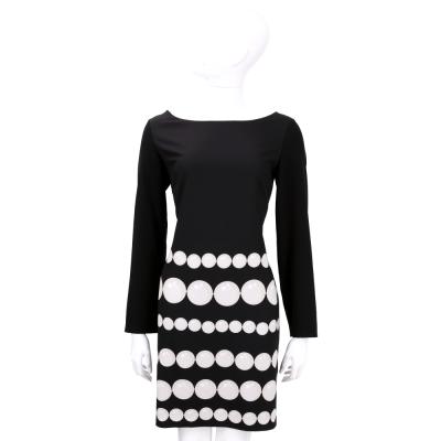 BOUTIQUE MOSCHINO 黑色串珠圖印長袖洋裝