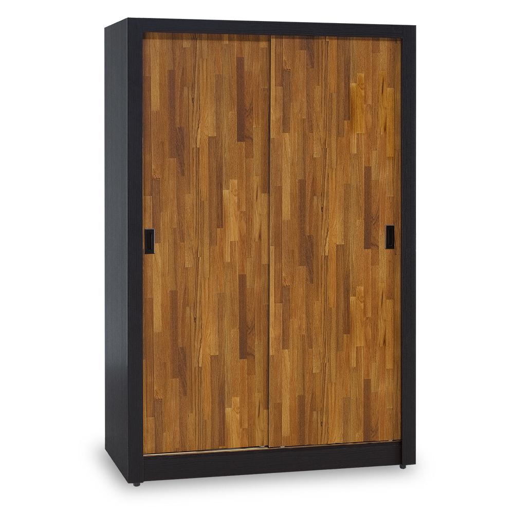 時尚屋 集成材柚木雙色耐磨4x7尺推門衣櫃 寬121x深61x高196cm