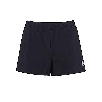 FILA 女抗UV平織運動短褲-黑5SHS-1618-BK