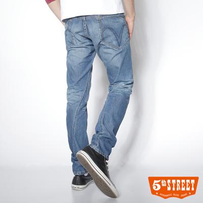 5th STREET 街頭特質 1965 3D純棉中直筒牛仔褲-男款(拔洗藍)