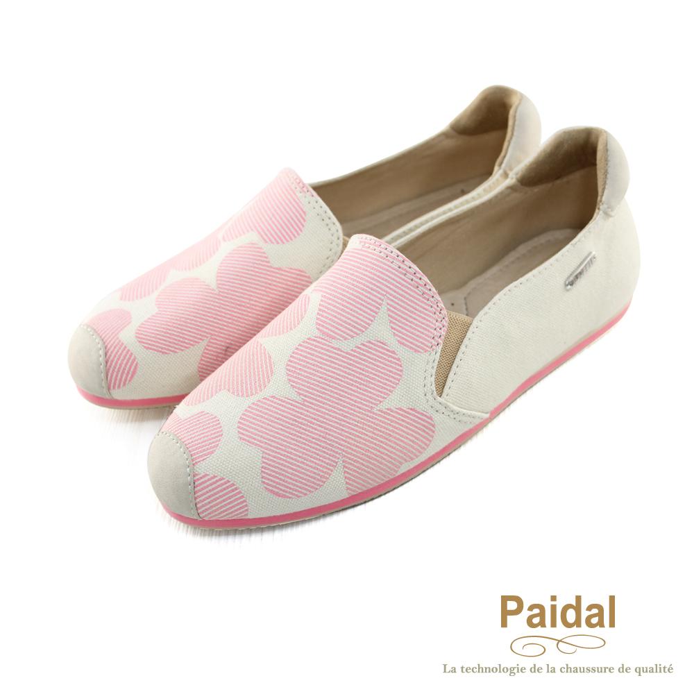 Paidal 帆布款甜美系幸運草休閒樂福鞋懶人鞋-清新粉