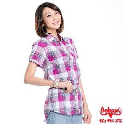 BOBSON 女款格紋雙口袋短袖襯衫(紫紅62)