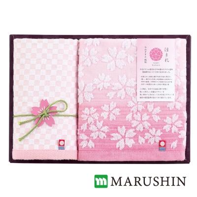 日本丸真 今治櫻花限定禮盒兩件組-粉(方巾x1+毛巾x1)