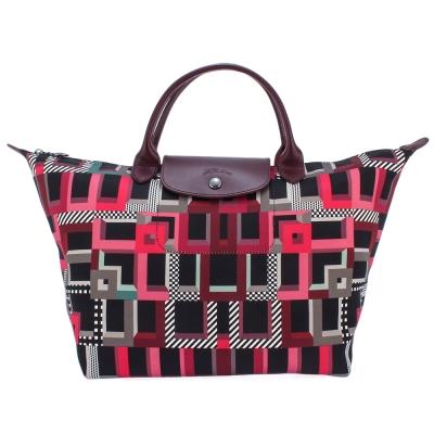 Longchamp Le Pliage Memphis幾何印花中型水餃包(短把提/紫紅色)