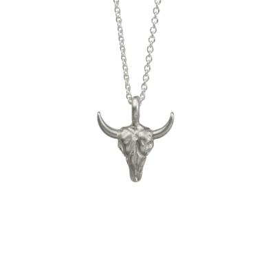 Dogeared 立體牛頭 勇敢冒險 不畏艱難 銀色項鍊 Bull Skull 附原廠盒