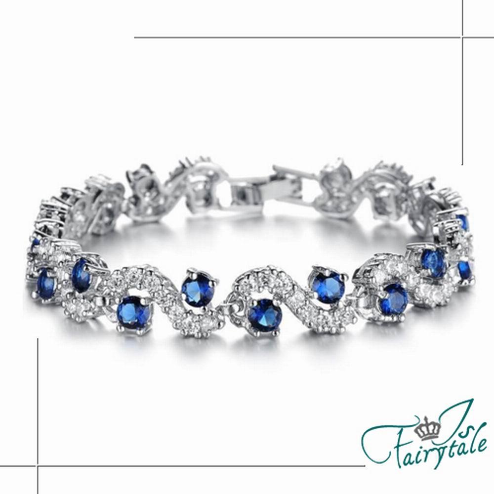 iSFairytale伊飾童話 纏綿藍鑽 鍍白金鋯石手鍊