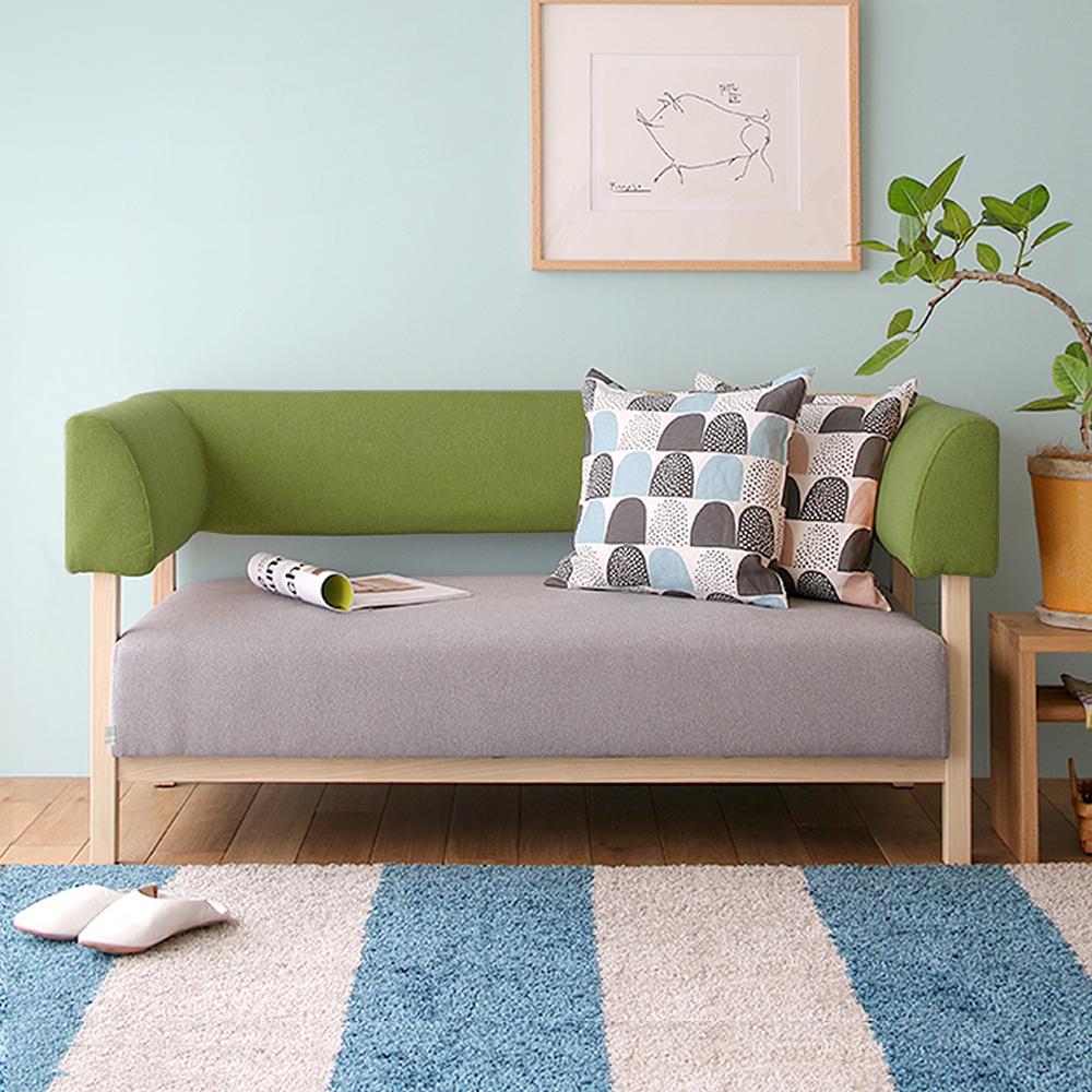H&D 瑪奇諾北歐木質雙人布沙發-綠色