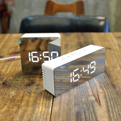 正方形-多功能鏡面時鐘 LED數字鬧鐘 化妝鏡