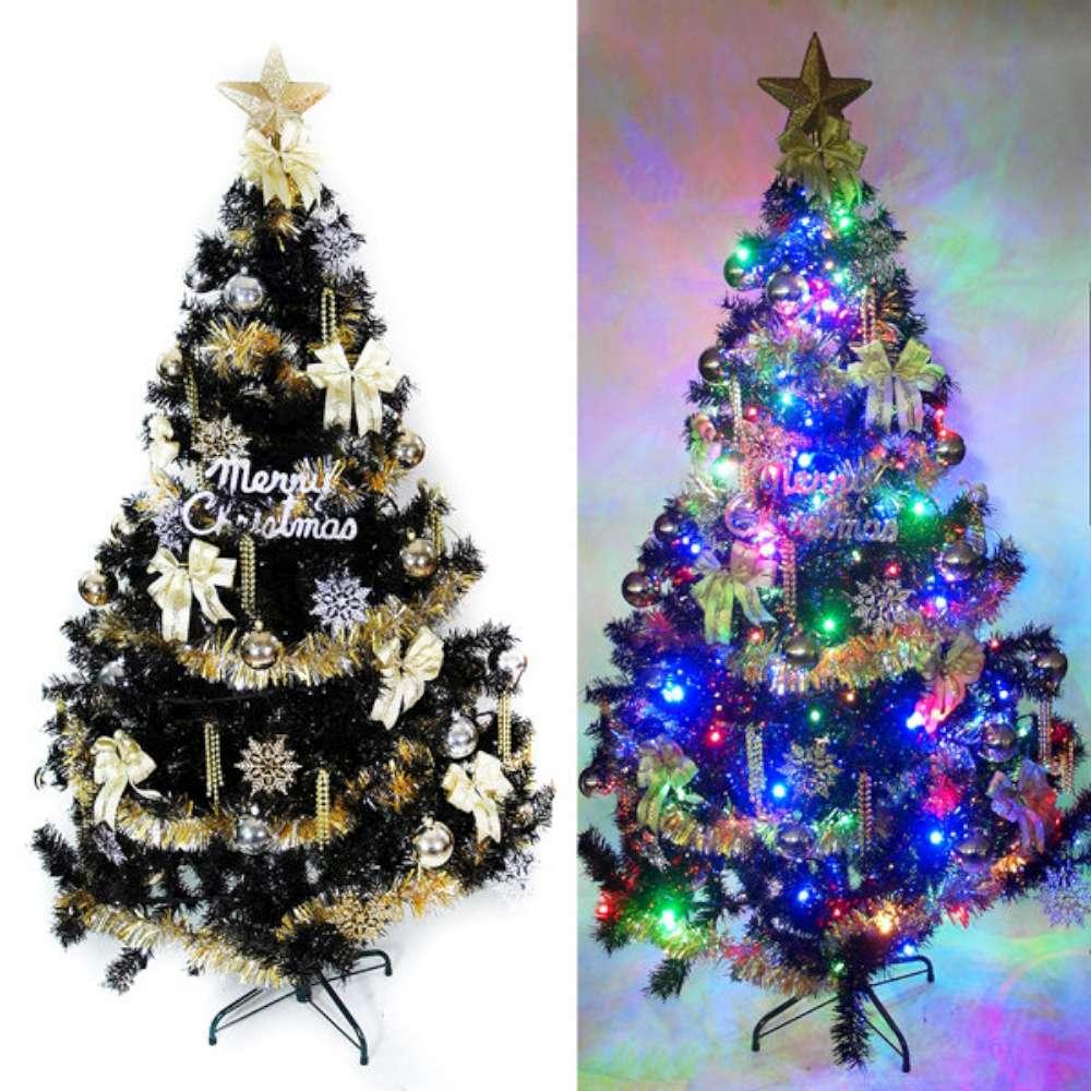 台製10尺(300cm)時尚豪華黑色聖誕樹(金銀配件組)+100燈LED燈彩光6串